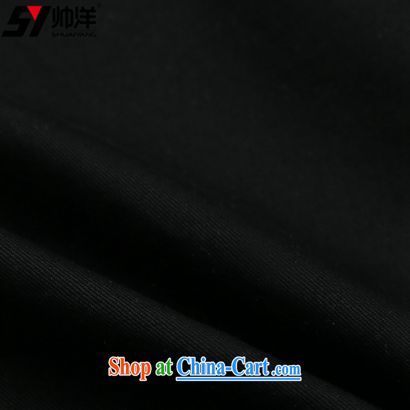 cool ocean new, men's cotton Tang with long-sleeved shirt Chinese Wind and spring shirt Chinese, for loose version click Layer jacket hand-tie dress black 42/180, cool ocean (SHUAIYANG), online shopping