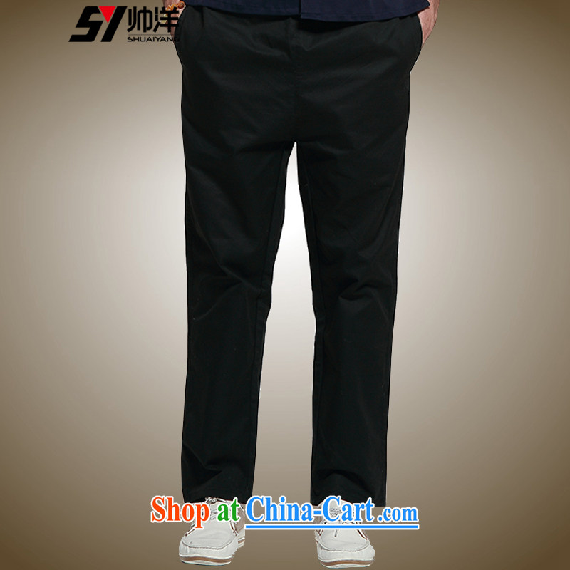 cool ocean 2015 spring New Men's short pants Chinese style trousers and cotton Chinese Dress relaxed version Elastic waist straight and comfortable black 43/185