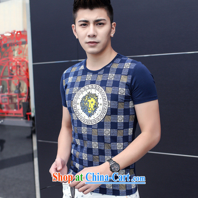 Health concerns women _ Men's 2015 summer Korean men's short-sleeved T-shirt men's cotton round-collar tartan tiger head stamp short-sleeved men's gray 3 XL