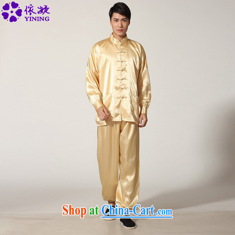 According to fuser stylish new, older male Chinese clothing Chinese Kit Kung Fu T-shirt Tai Chi uniforms and clothing LGD/M 0048 # -D gold L