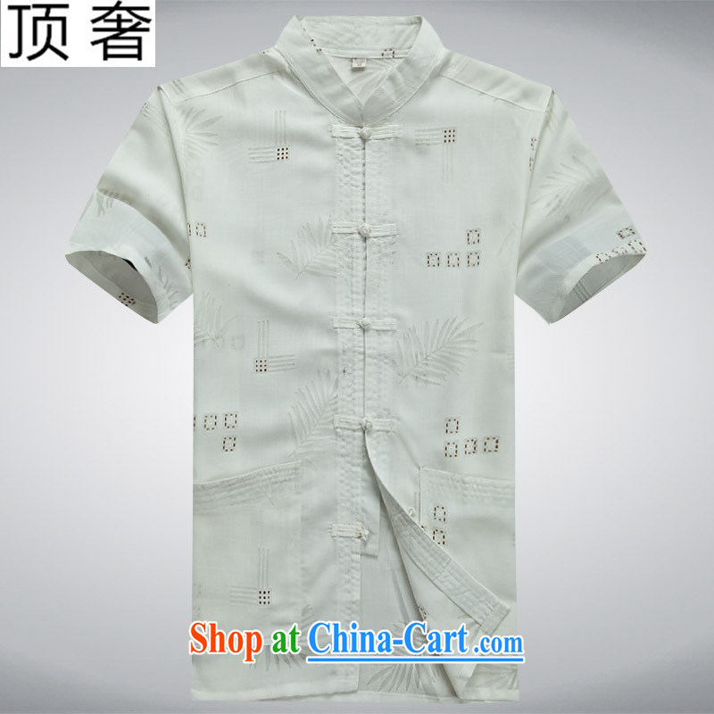 Top Luxury 2015 men's Chinese, new leisure summer short-sleeved T-shirt Chinese men and Chinese, for the Chinese Chinese-tie short-sleeved T-shirt white 190