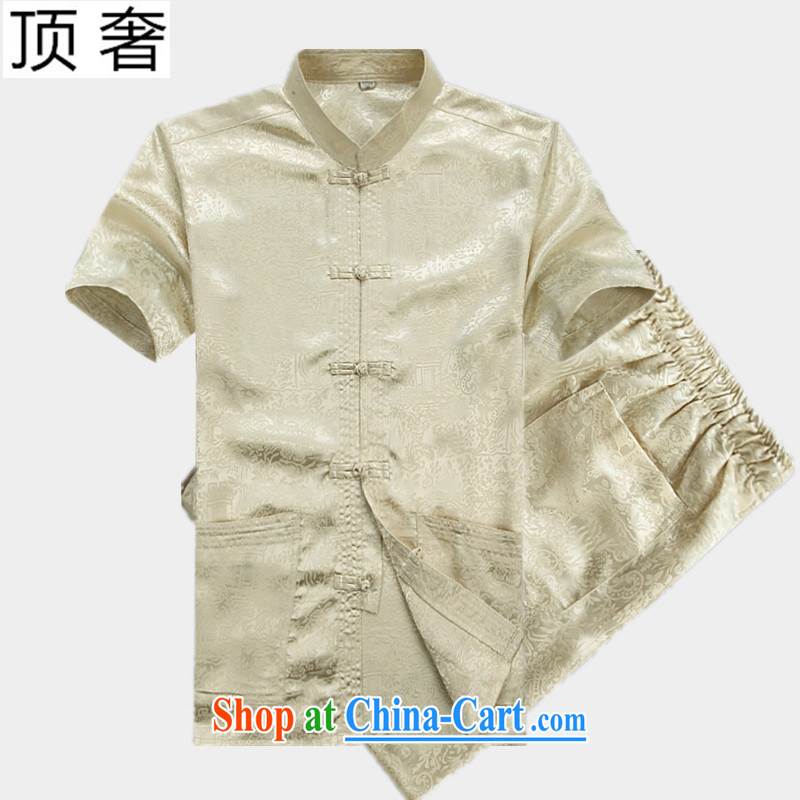Top Luxury men's Chinese 2015 new, Mr Ronald ARCULLI, older Chinese short-sleeved men's Chinese Han-loaded Dad jogging exercise clothing, for Chinese-tie shirt beige Kit 190