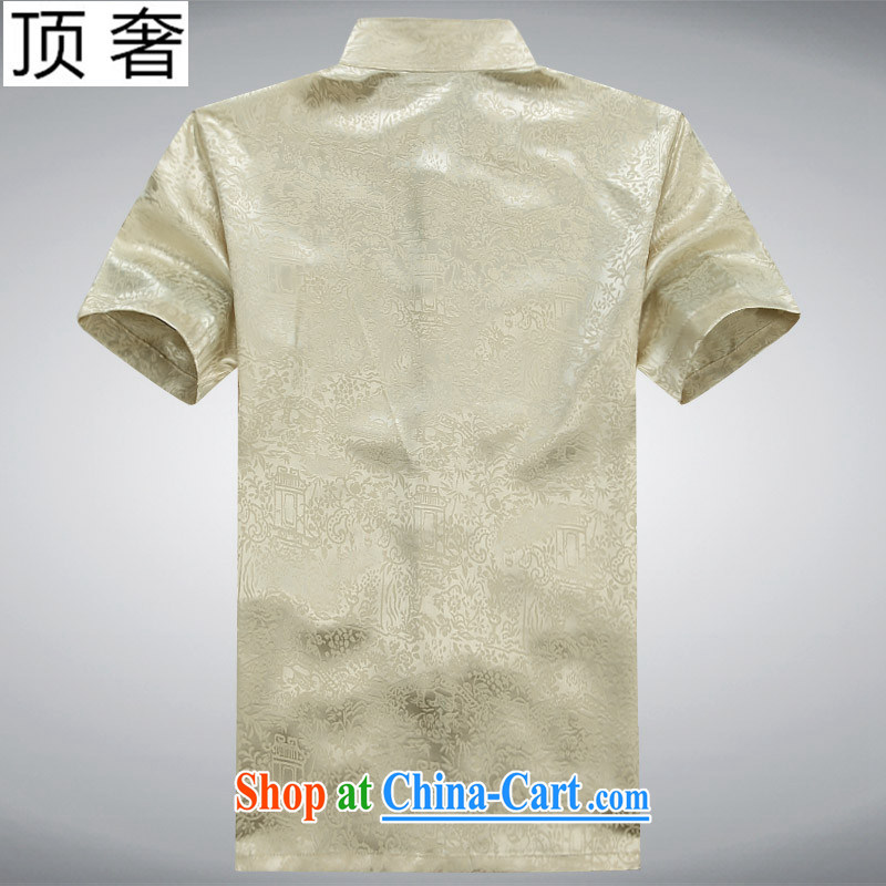 Top Luxury men's Chinese 2015 new, Mr Ronald ARCULLI, older Chinese short-sleeved men and Chinese Han-loaded Dad jogging exercise clothing, for Chinese-tie shirt beige package 190 and the top luxury, shopping on the Internet