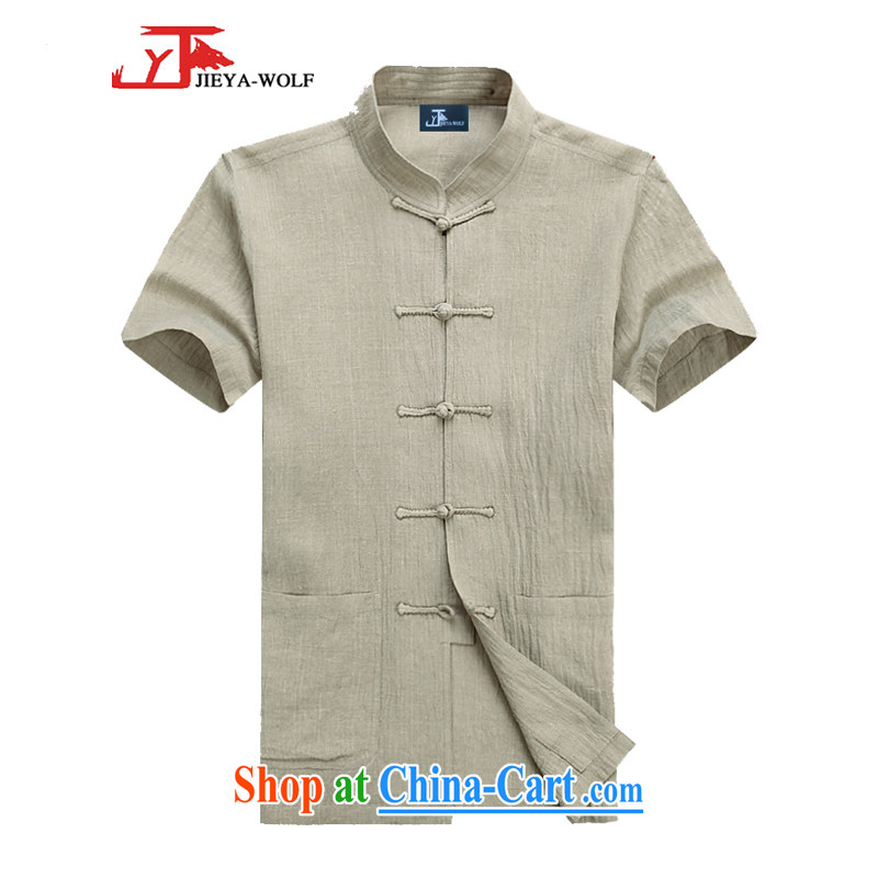 Jack And Jacob - Wolf JIEYA - WOLF Tang replacing kit men's short-sleeved summer advanced money-wrinkled linen solid color, men with short T-shirt with short sleeves card its A 190_XXXL