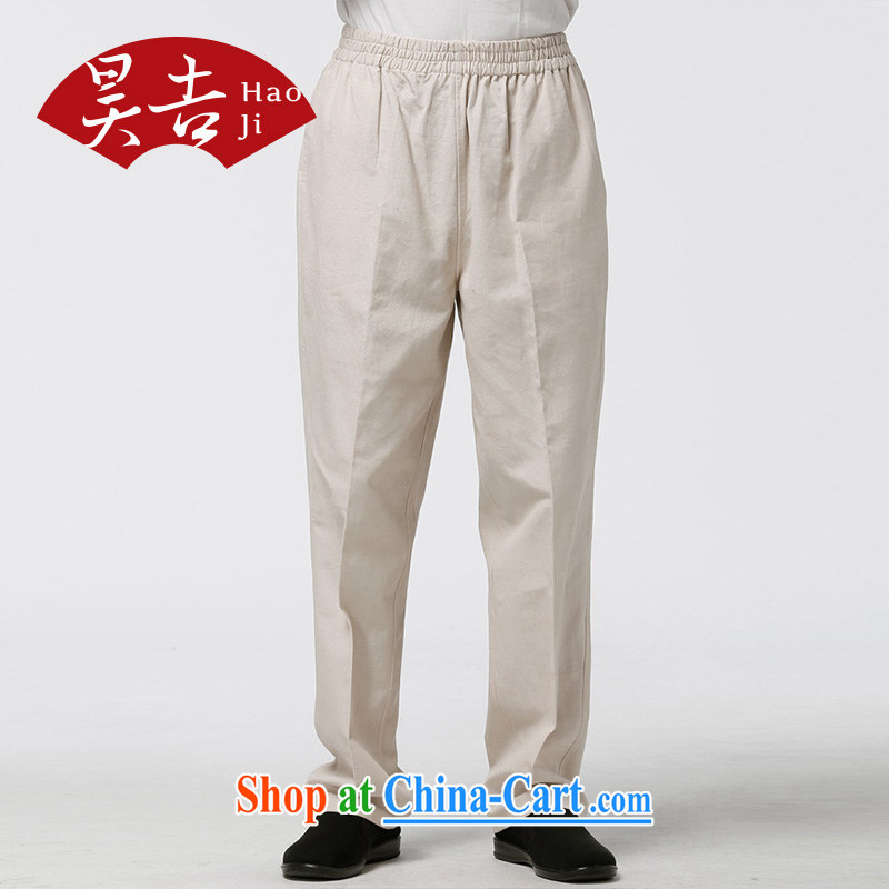Hao, summer cotton middle-aged and older men's short pants Ethnic Wind father loose trousers summer has been and trousers beige 185