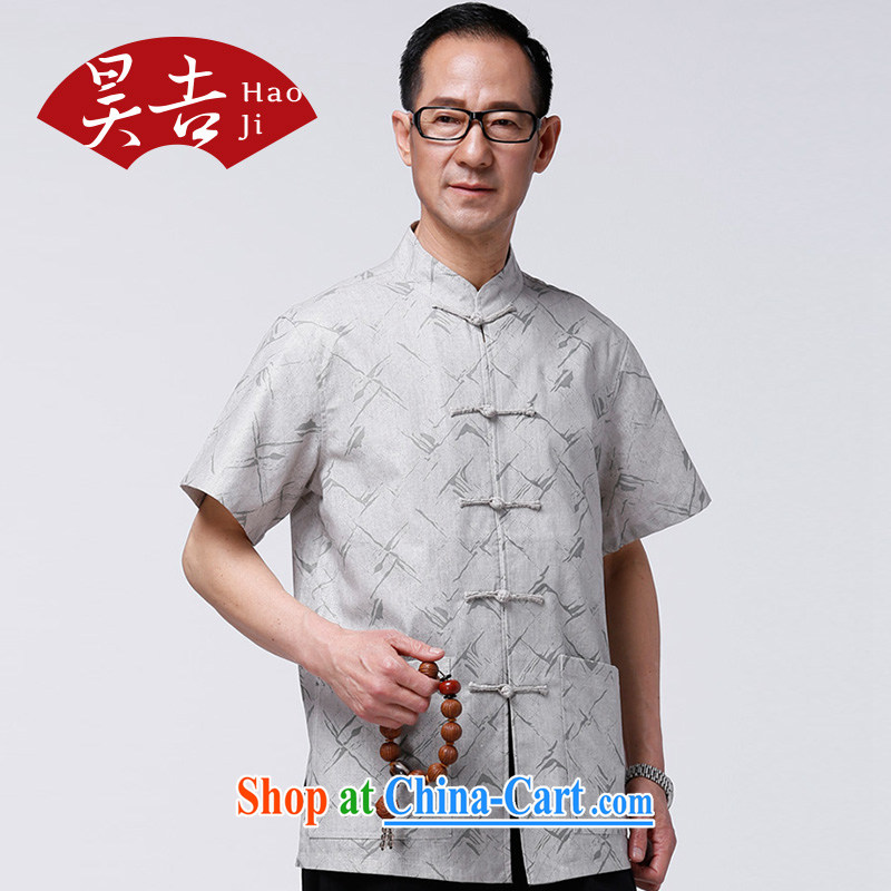 HO, Mr Ronald ARCULLI is new, old men, for the charge-back short-sleeved Chinese half sleeve China wind power T-shirt older persons light gray XXXXL_185