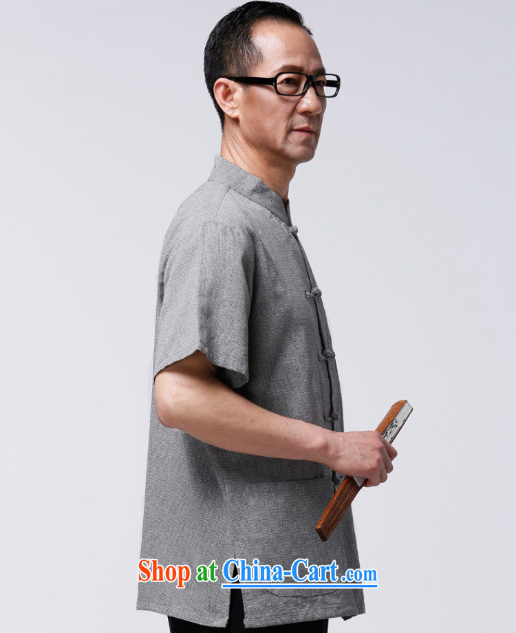 Hao, summer 2015 older short-sleeved Chinese men's China wind grandfather summer Chinese father the shirt and gray blue XXXXL/185 pictures, price, brand platters! Elections are good character, the national distribution, so why buy now enjoy more preferential! Health