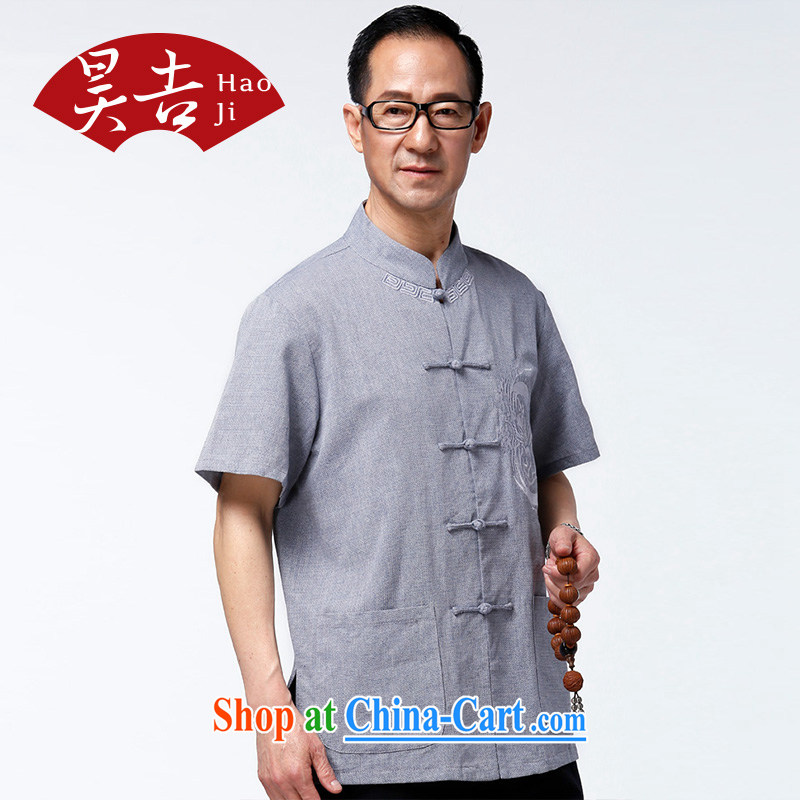Hao, summer 2015 older short-sleeved Chinese men's China wind's grandfather summer Tang mounted his father shirt and gray blue XXXXL/185