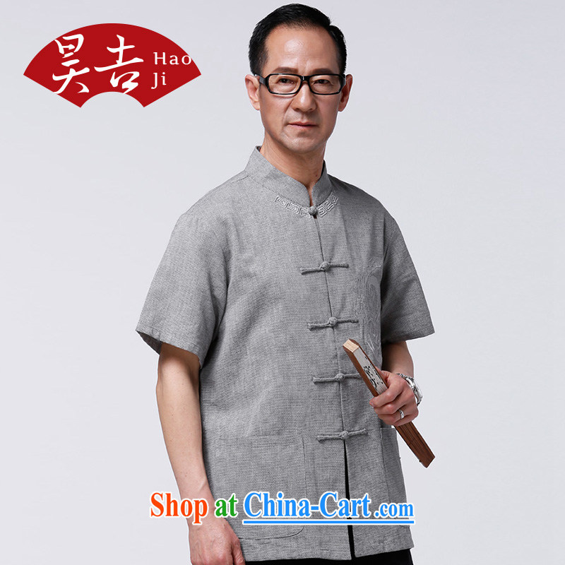 Hao, summer 2015, older short-sleeved Chinese men's China wind's grandfather summer tang on his father T-shirt gray-blue XXXXL/185, Ho-gil, shopping on the Internet
