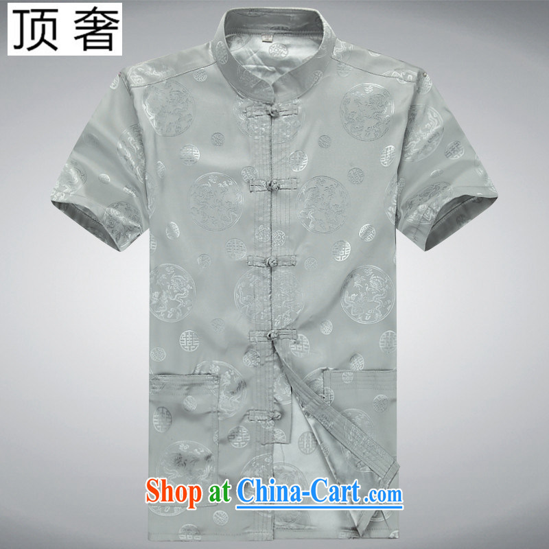 Top Luxury summer men, older leisure Chinese Chinese festive short-sleeve T-shirt retro China wind summer shirt thin male M yellow short-sleeved Chinese Kit gray Kit 190