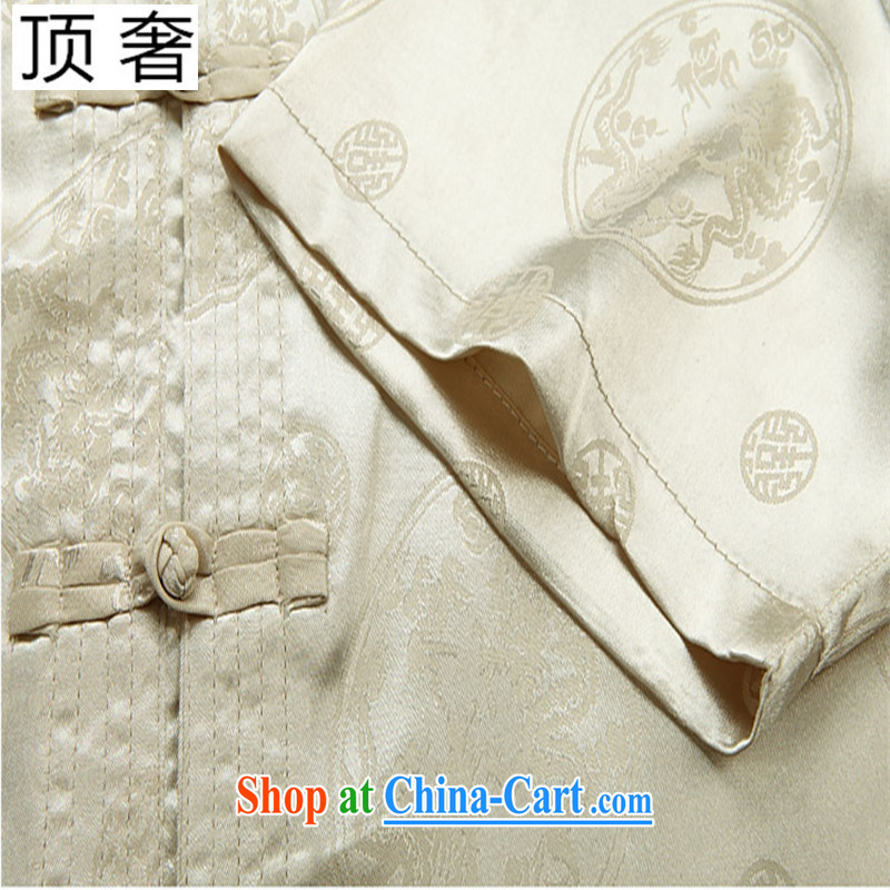 Top Luxury summer men, older leisure Chinese Chinese festive short-sleeve T-shirt retro China wind summer shirt thin male beige short-sleeved Chinese Kit gray package 190 and the top luxury, shopping on the Internet