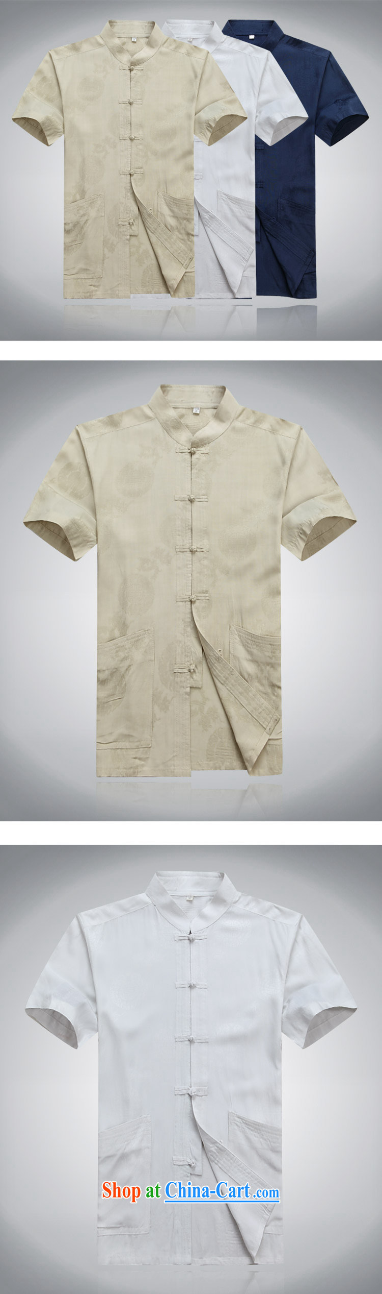 Top Luxury 2015 new middle-aged and older men with short T-shirt with short sleeves in summer elderly Chinese men's summer national costumes of China wind shirt white 190 pictures, price, brand platters! Elections are good character, the national distribution, so why buy now enjoy more preferential! Health
