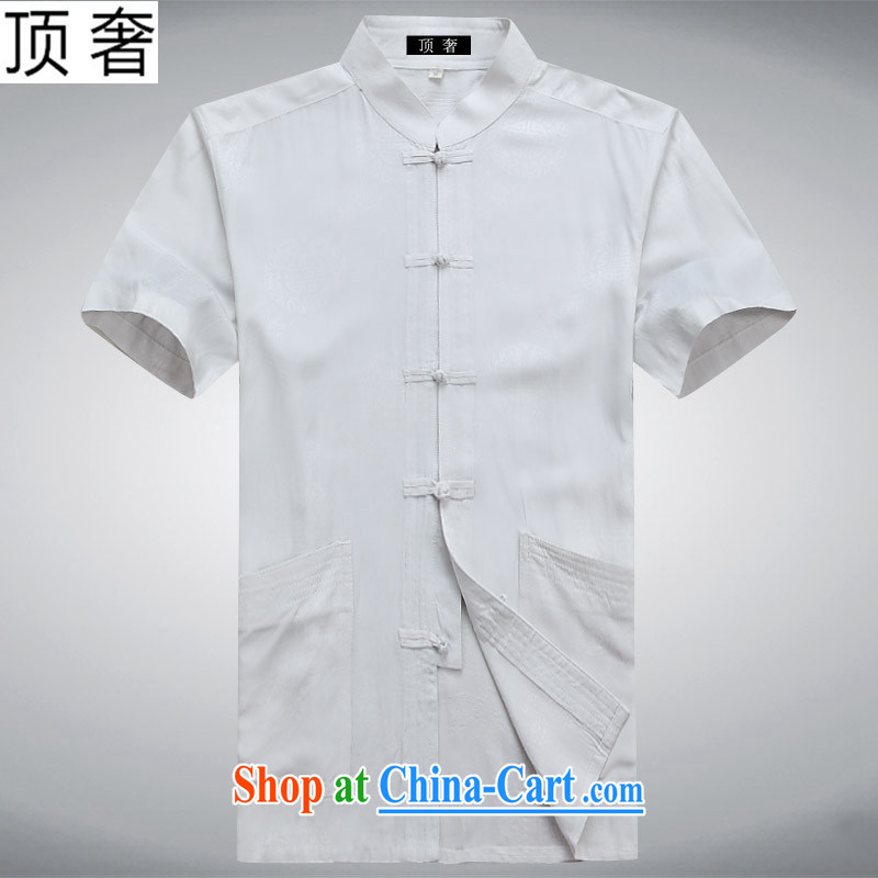 Top Luxury 2015 New Men Tang is short-sleeved T-shirt, older persons with short men's summer, served the men detained Tai Chi uniforms short white 190