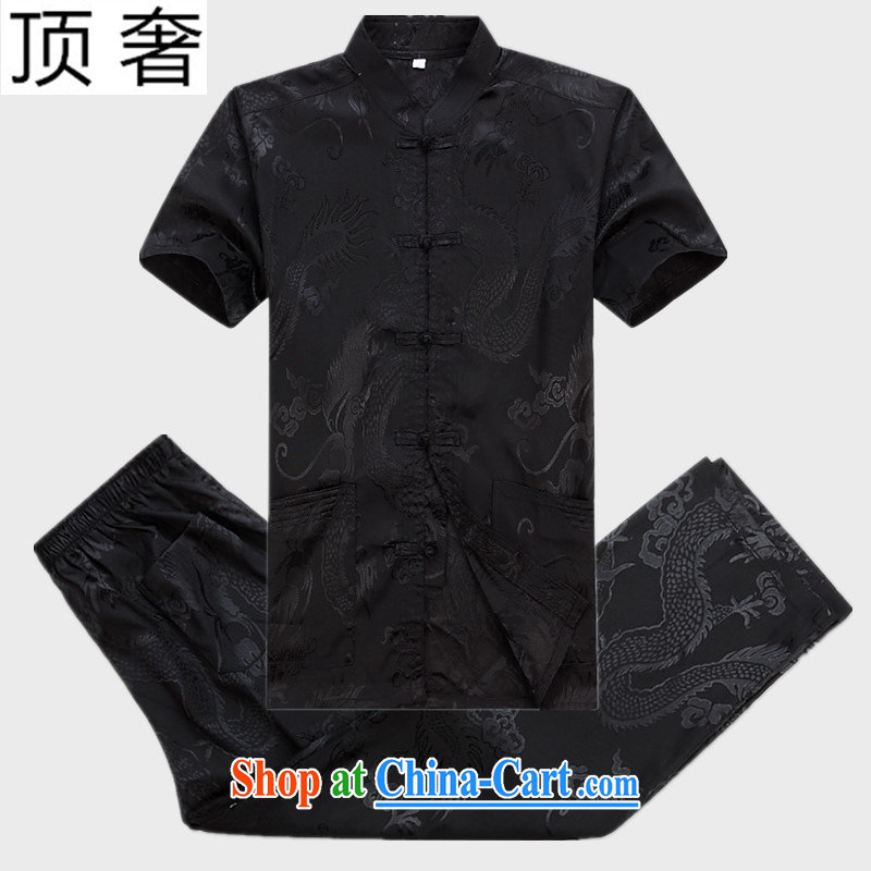 Top Luxury 2015 new middle-aged and older summer Chinese male Kit Chinese dragon men's XL father Tang is the charge-back short sleeve fitted T-shirt Black Kit 170