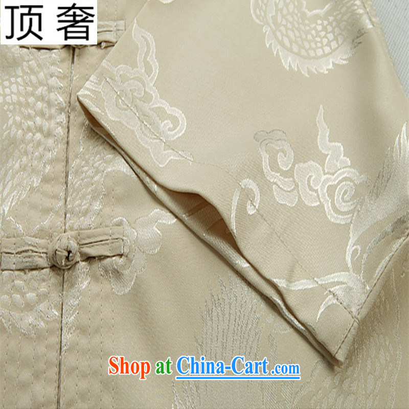 Top Luxury 2015 new middle-aged and older summer Chinese men and set the dragon men's XL father Tang on the charge-back short sleeve with a short-sleeved shirt Black Kit 170, top luxury, shopping on the Internet