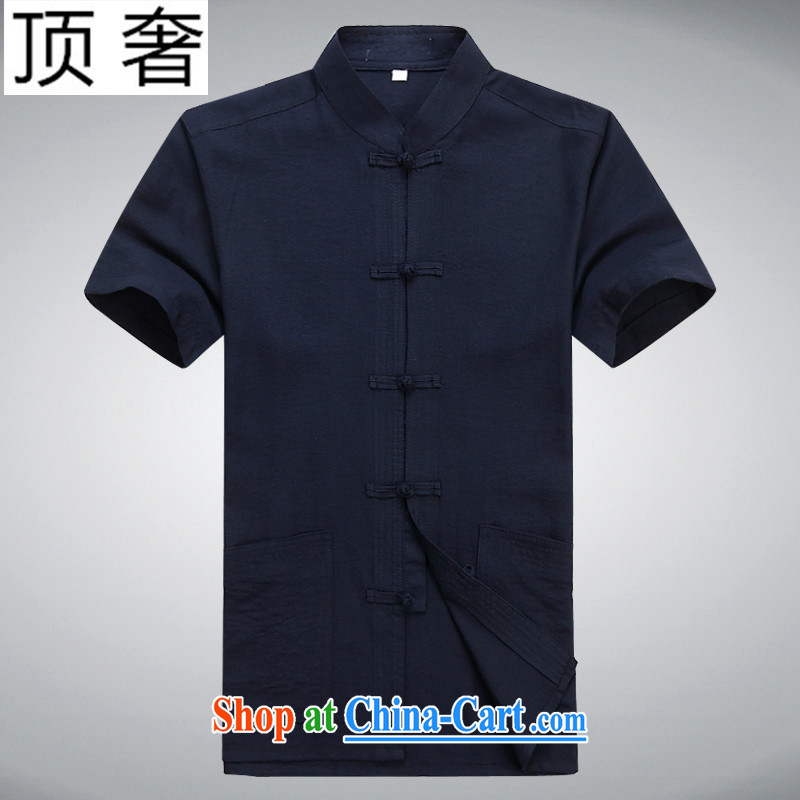 Top Luxury cotton Chinese men and Mr Ronald ARCULLI in older men short-sleeved Chinese Package white hand-tie Chinese short-sleeve Leisure package father Father With a collared T-shirt blue shirt 190