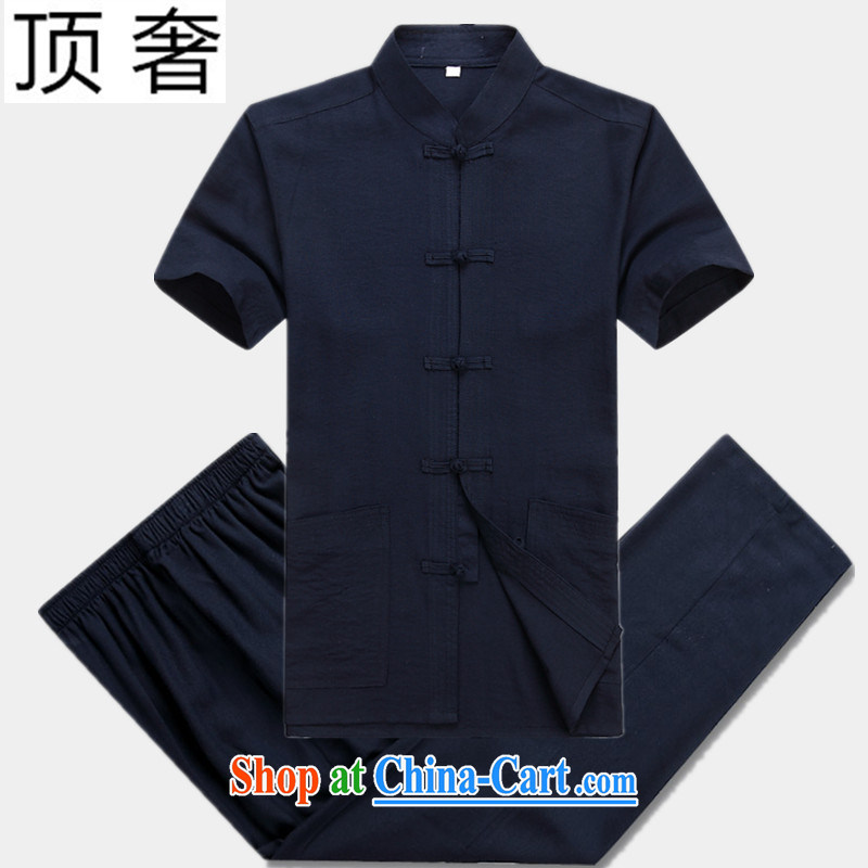 Top Luxury linen short-sleeve kit Dad installed China wind male cotton half sleeve blue men's Chinese elderly in men and a short-sleeved Chinese-tie kit exercise clothing cynosure serving Blue Kit 180