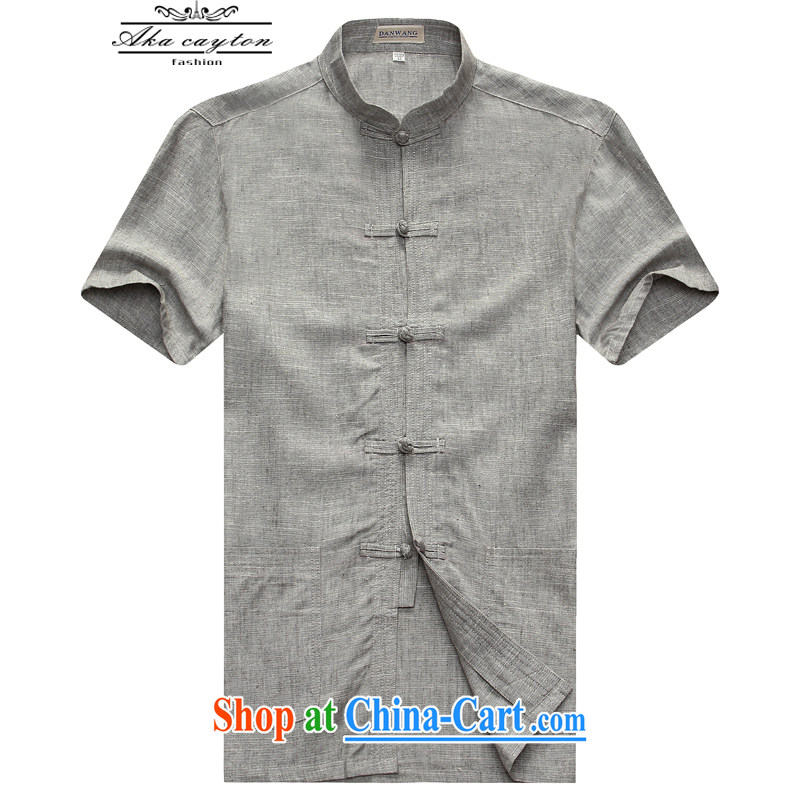 2015 flax men Tang single short-sleeved shirt Sun Yat-sen summer hand-tie Chinese national costume Tang 09 light gray 185