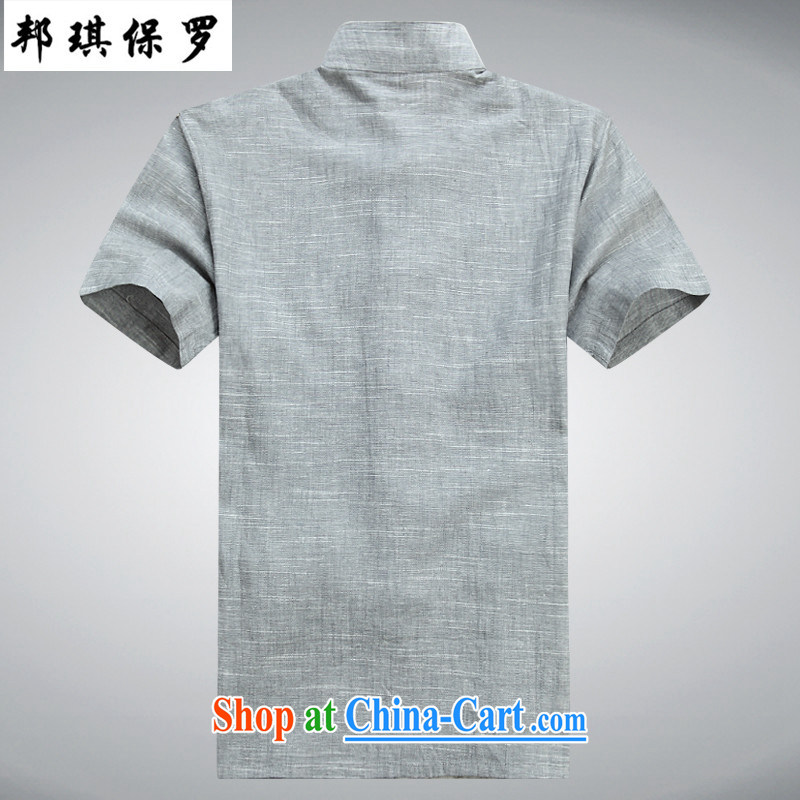 Bong-ki Paul summer thin linen cotton Chinese package men's new t-shirt short-sleeved Tai Chi's father served with national costume Chinese wind 8056 #light gray suite 190, Angel Paul, shopping on the Internet