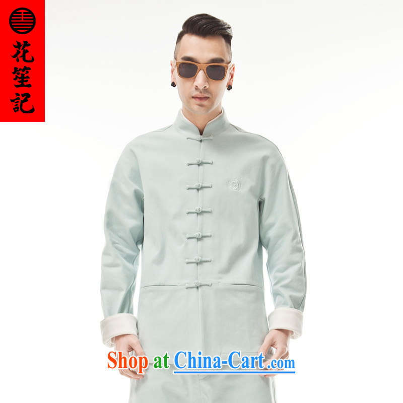 His Excellency took the wind B not 9 color military men and aggressive beauty Long-Sleeve stylish Chinese T-shirt duck egg blue duck egg blue _M_