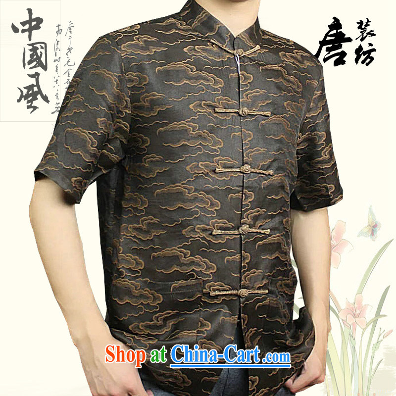 Federal Bob poetry short-sleeved Chinese men and 2015 summer new Chinese wind sauna silk Chinese elderly in Hong Kong with his father by replacing high-end silk Chinese coffee 175