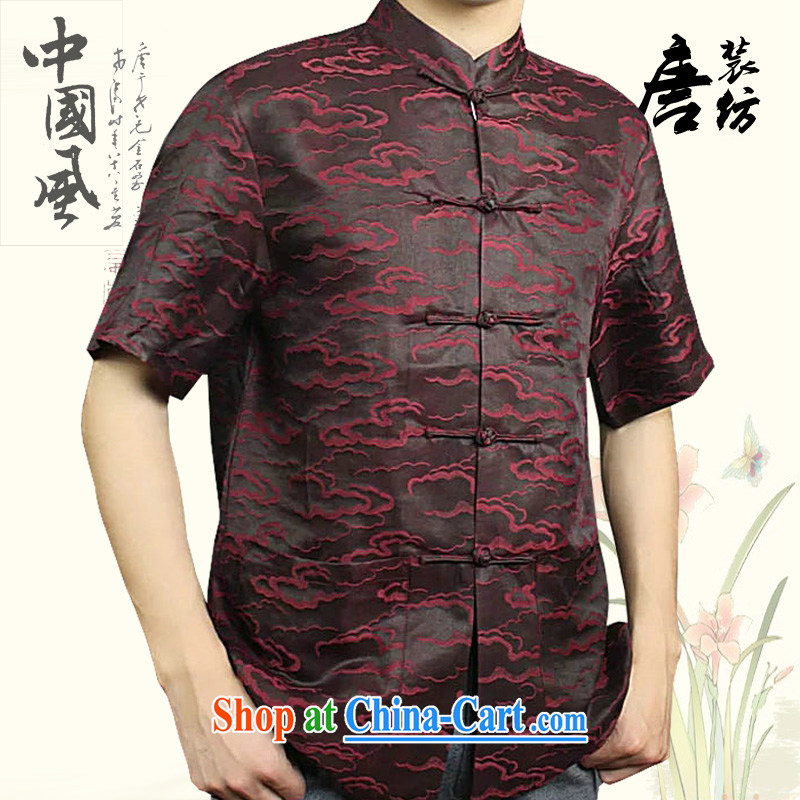 Federal Bob poetry short-sleeved tang on the 2015 summer New China wind sauna silk Chinese elderly in Hong Kong with his father by replacing high-end silk Tang replace coffee 175, federal Bob poetry (lianbangbos), online shopping