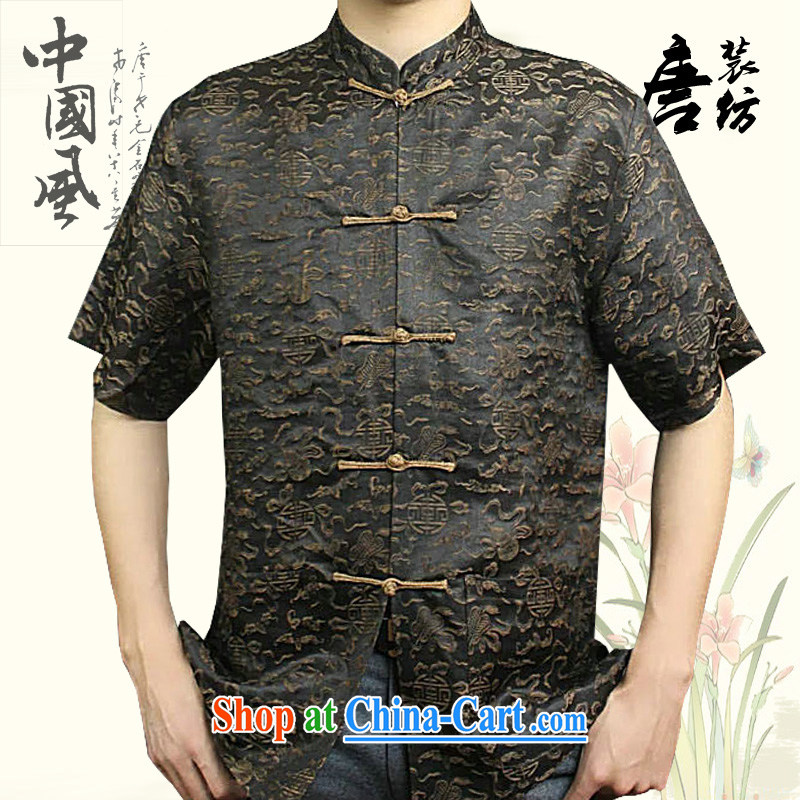 Federal Bob poetry short-sleeved Chinese men and 2015 New China wind sauna silk Chinese elderly in Hong Kong with his father by replacing high-end silk Chinese coffee 175