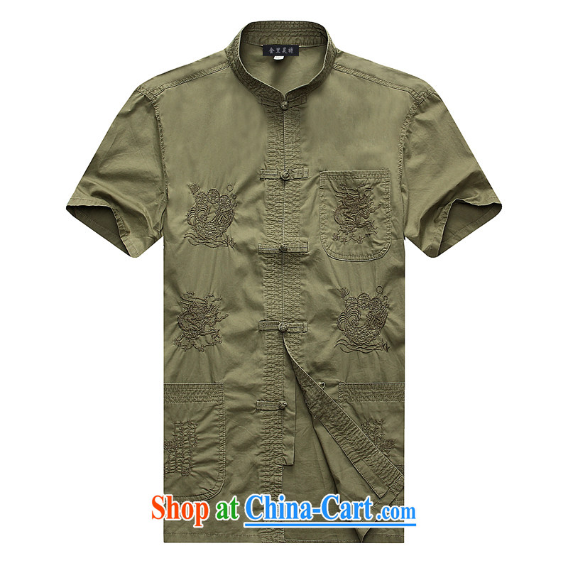 Kim Ho-the new summer, older men China wind-buckle Tang fitted short-sleeved T-shirt, men's cotton half sleeve T-shirt color pickles 185