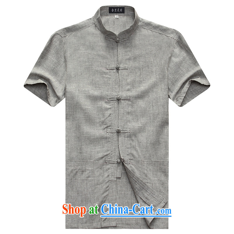 Kim Ho-the new summer men's China wind linen short-sleeve shirt T leisure in older Chinese men's half sleeve T-shirt gray 185