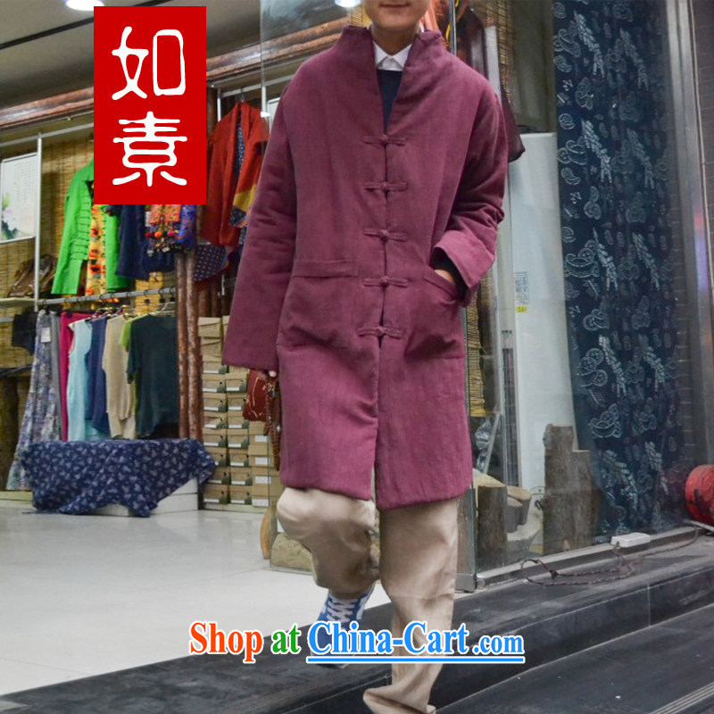As of Mr. Joinet, linens, and Chinese-tie coat quilted coat 3228 Sha red M