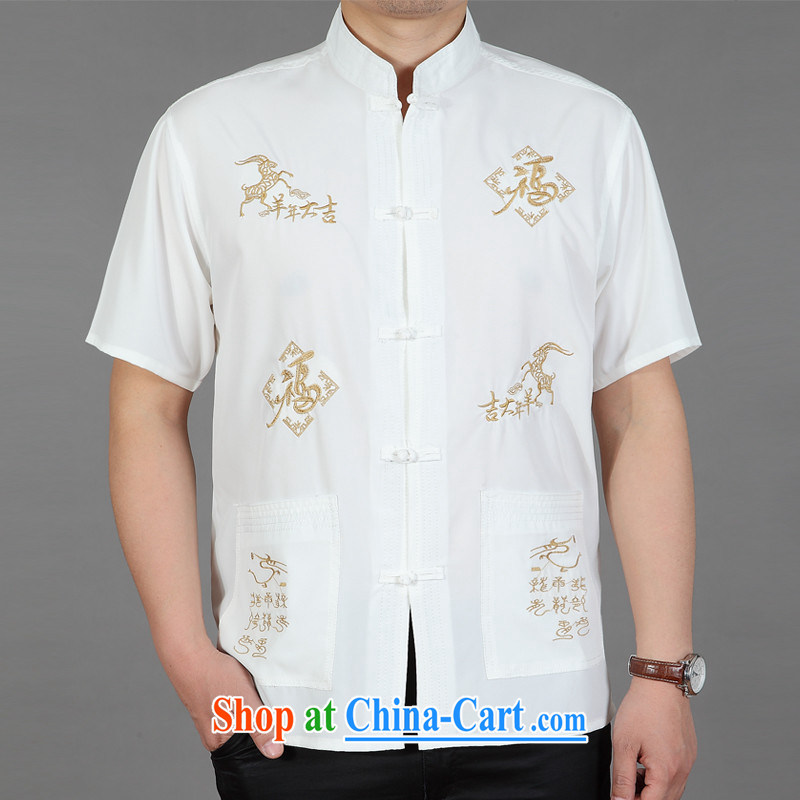 New Men's short-sleeved, older Chinese summer shirt older persons summer China wind men's Chinese shirt sheep white