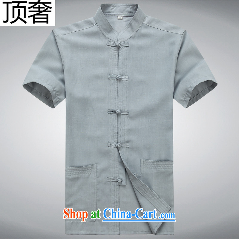 The top luxury summer men's Chinese-buckle cotton the Tang with a short-sleeved shirt, and Chinese wind summer T-shirt practice in serving older, shirt for Dad installed XL gray Kit 185