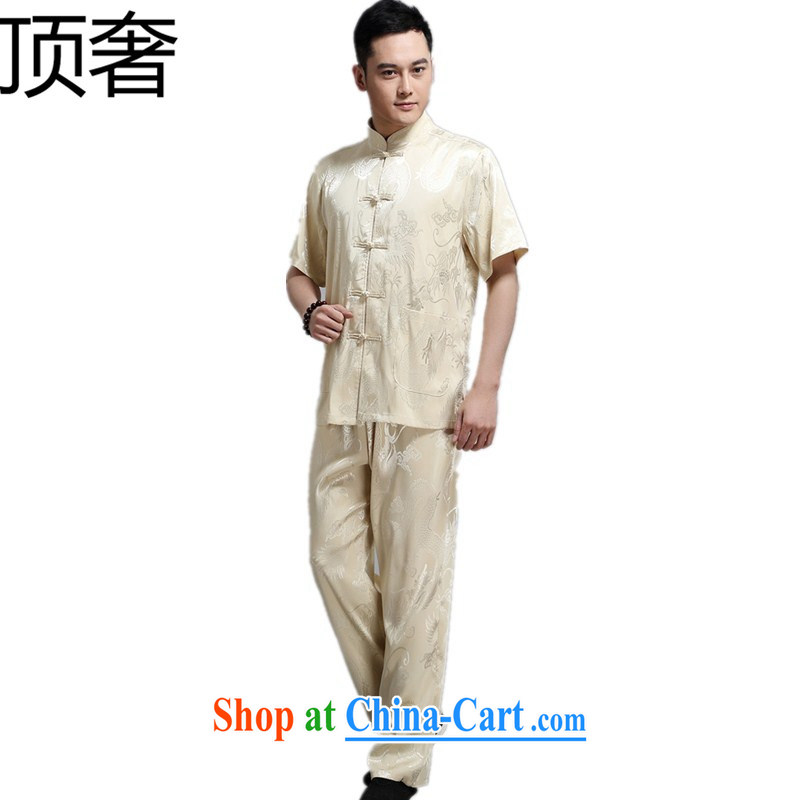 The top luxury men's Chinese package middle-aged and older, for the dragon shirt T-shirt pants home casual blue middle-aged short-sleeved Chinese China wind national costume XL beige 165
