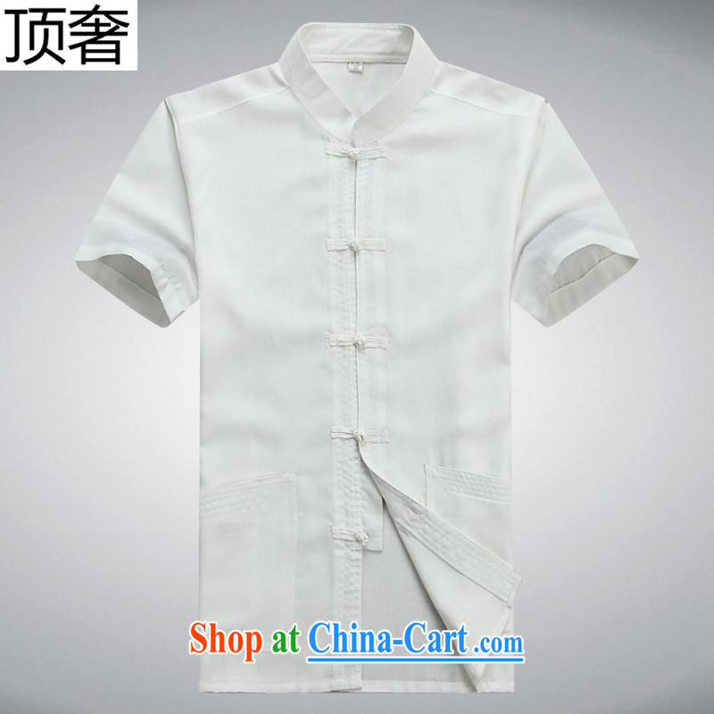 Top luxury Chinese men and elderly people in short sleeve T-shirt with pants father with Chinese national summer Chinese Wind and Han-serving Nepal summer T-shirt pants and white Kit 190