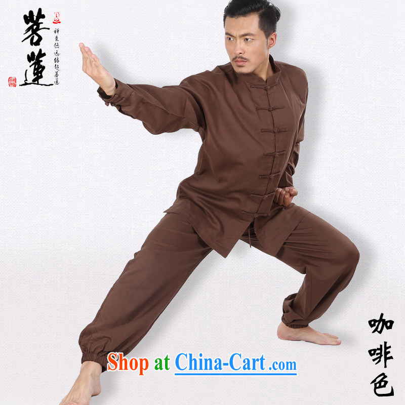 Restrictive Lin linen cotton men and women the commission autumn summer thin Tai Chi clothing long-sleeved Nepal retreat morning martial arts practitioners performing service brown XL