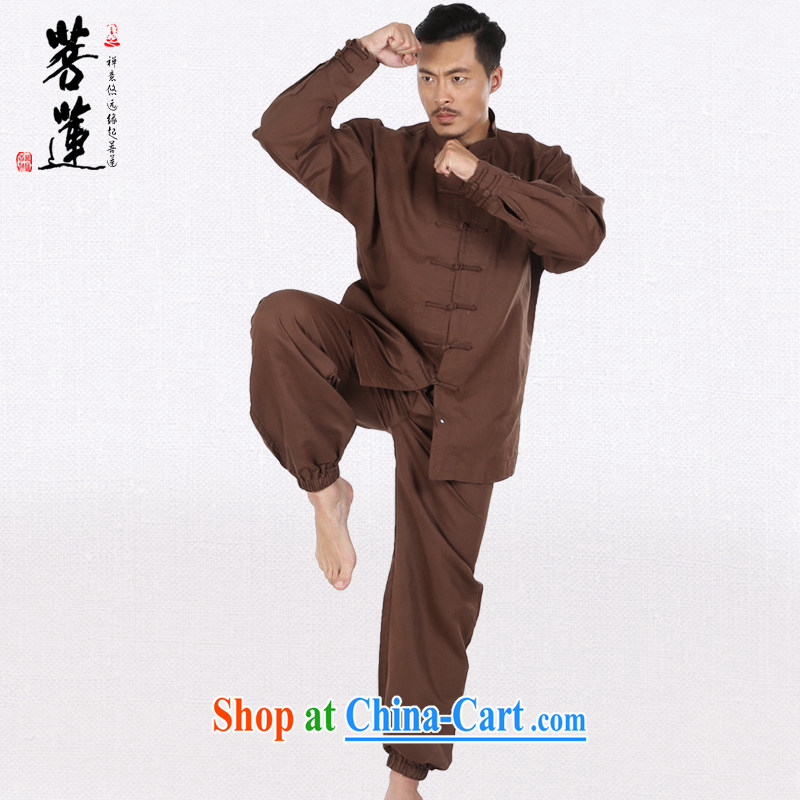 Restrictive Lin linen cotton men and women the commission autumn summer, Tai Chi, long-sleeved clothing Nepal retreat morning martial arts practitioners performing service brown XL, pursued Lin, and shopping on the Internet