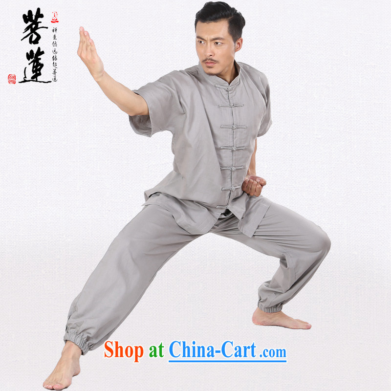 Bodhi-lin linen cotton men and women the commission autumn summer thin Tai Chi uniforms short-sleeved Nepal retreat morning martial arts practitioners performing service gray L