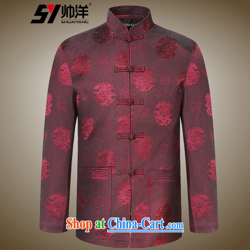 cool ocean New Men Tang jacket spring jacket, older men and Chinese clothing Chinese style dress Chinese festive celebrations in gifts older male wine red 185