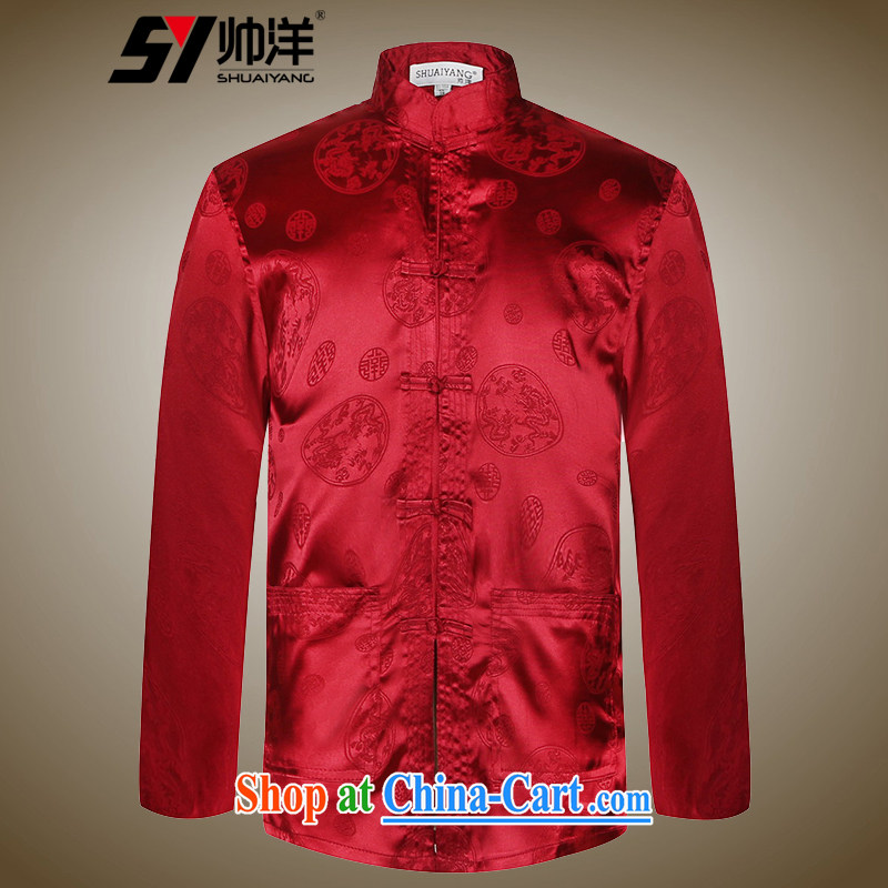cool ocean 2015 new ultra-thin male Chinese long-sleeved T-shirt Chinese style shirt and Chinese shirt and T-shirt solid wine red 41_175