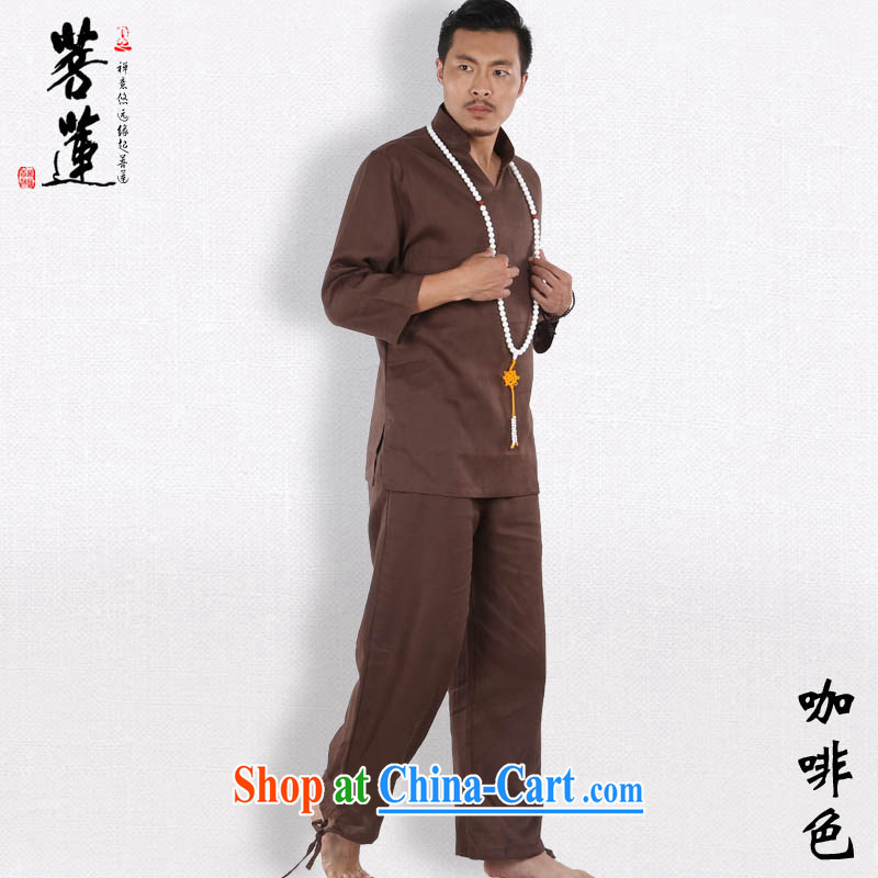 Bodhi-lin plain linen V for China wind meditation Nepal yoga clothing_men meditation pad service Tai Chi martial arts uniforms燽rown L