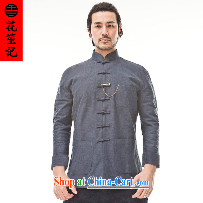 Take Your Excellency's wind cotton great Chinese men Chinese Ethnic Wind leisure-wear clothing retro jacket blue-gray jumbo (XL)