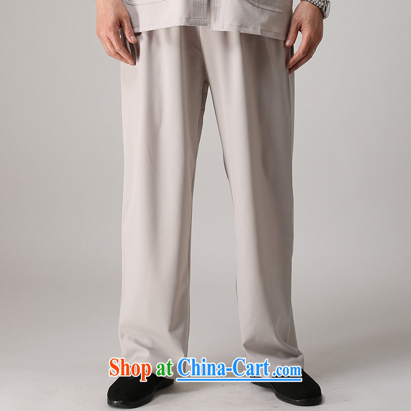 Hao, 2014 summer new middle-aged and older men's short pants older people wearing trousers with a package light gray XL