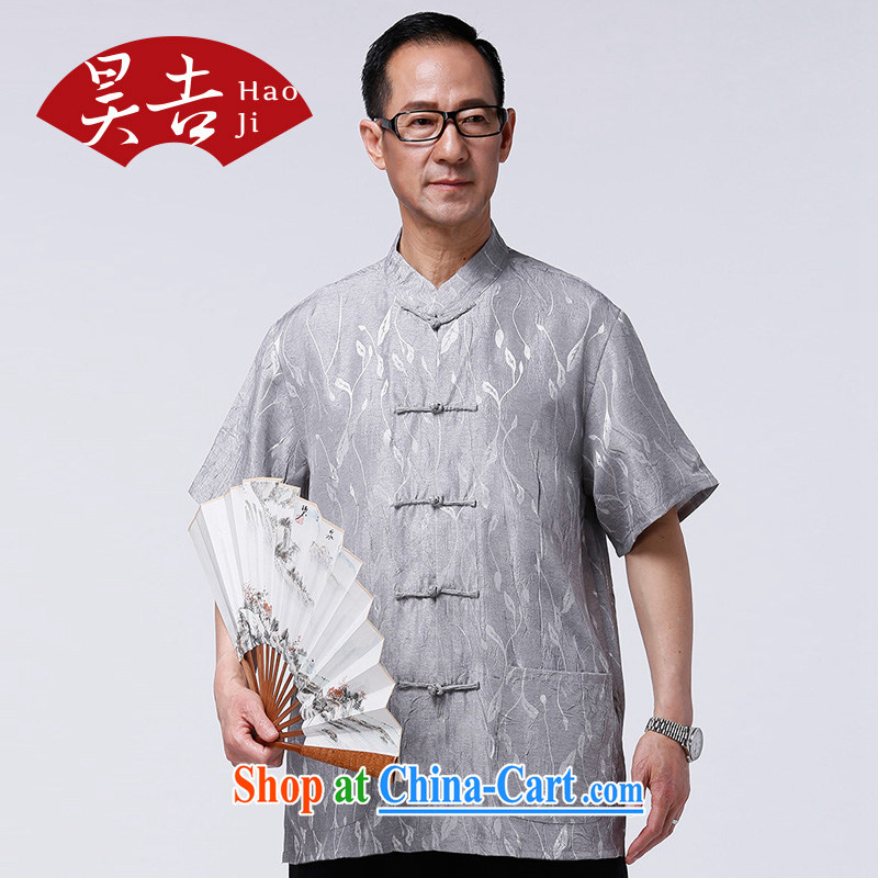 HO CHI men and elderly people in summer short-sleeved Chinese elderly half sleeve tang on the T-shirt Dad China wind improved T-shirt gray XXXXL/185