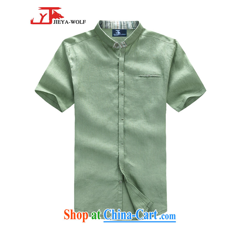 Jack And Jacob - Wolf JIEYA - WOLF New Tang replace short-sleeve men's small flip style Leisure cotton the solid color summer men's Chinese shirt trend with light green 190/XXXL
