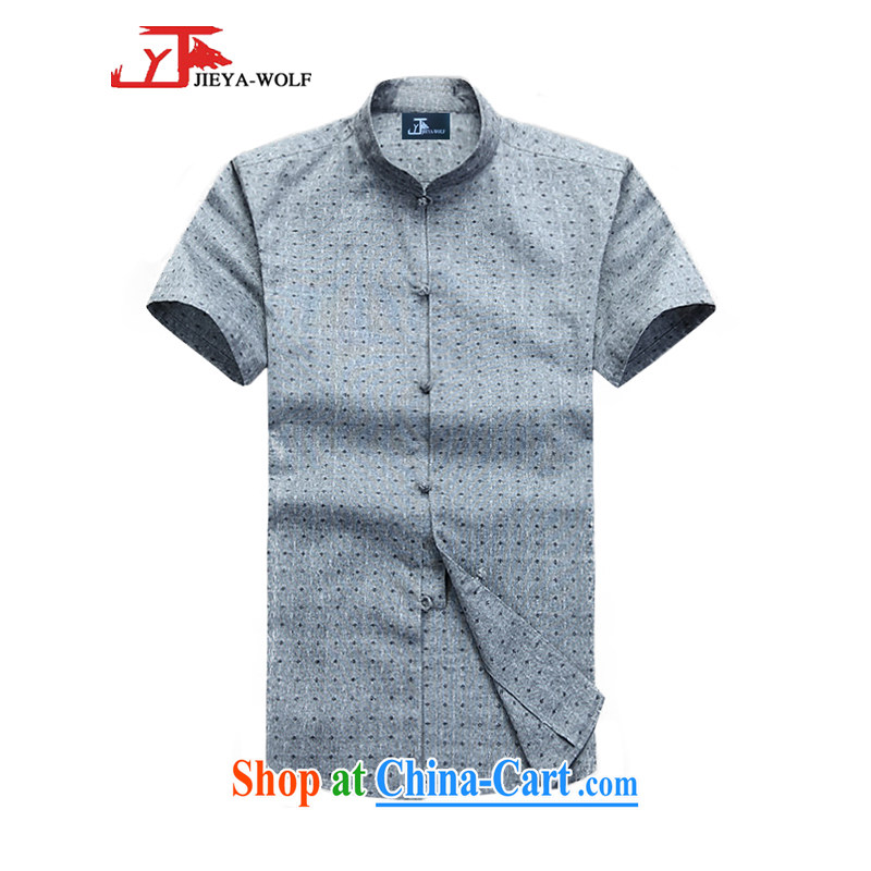 Cheng Kejie, Jacob - Wolf JIEYA - WOLF New Tang with a short-sleeved men's summer cotton shirt shirt stylish casual China wind male stars, gray 190_XXXL