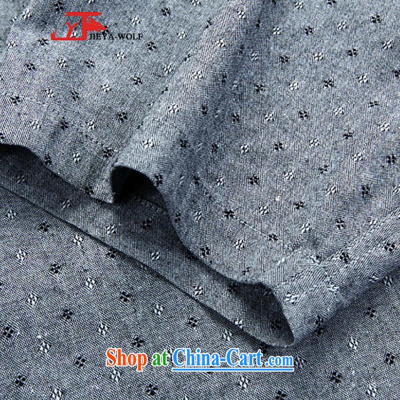 Cheng Kejie, Jacob - Wolf JIEYA - WOLF New Tang on short-sleeved men's summer cotton shirt shirt stylish casual China wind male stars, gray 190/XXXL, JIEYA - WOLF, shopping on the Internet