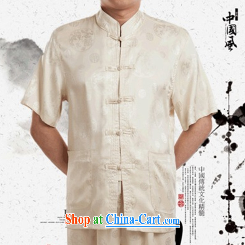 national dress short-sleeved silk Kit Chinese Han-large code birthday T-shirt Dad replace old summer short of replacing beige 190 /110 /4 XL