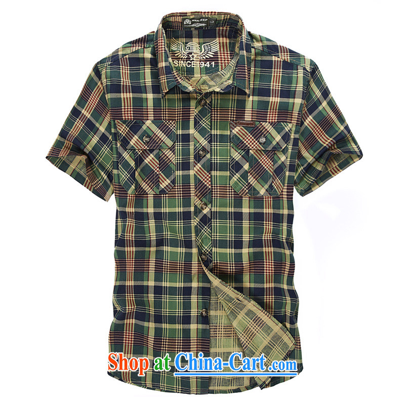 Jeep vehicles Chinese men and pure cotton tartan stripes shirt business and leisure frock short-sleeved shirts men's shirts 5830 green L