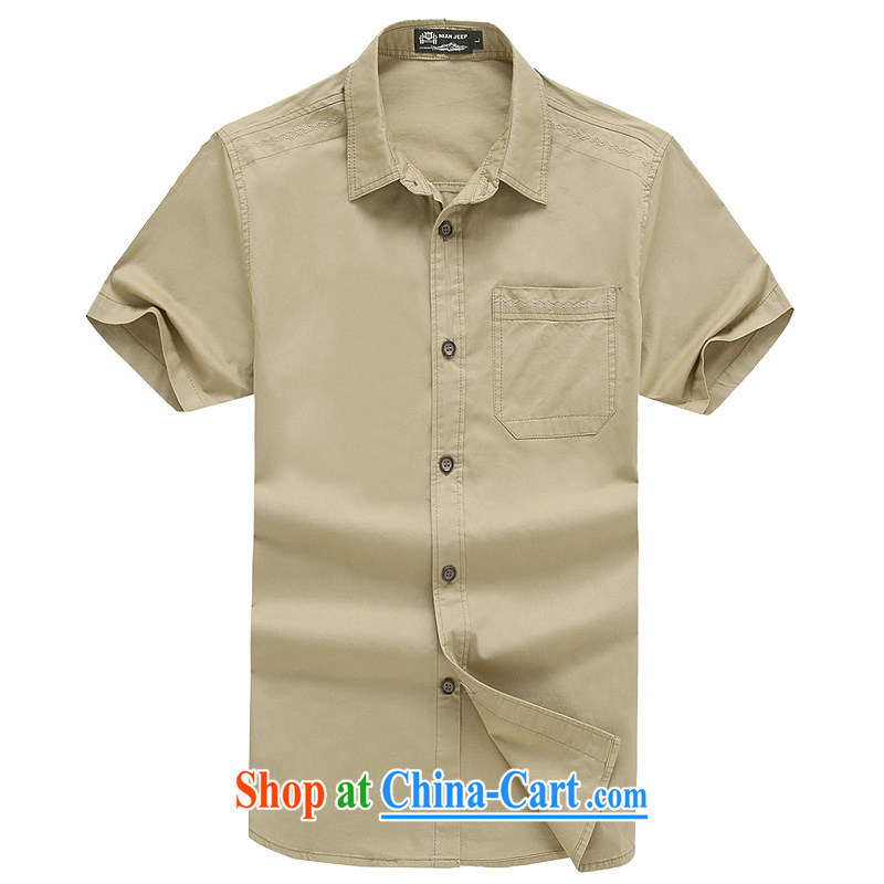 Jeep VEHICLES WITH SHORT men's short-sleeve solid color shirt business youth leisure simple frock shirt spring and summer, 5831 card its color L