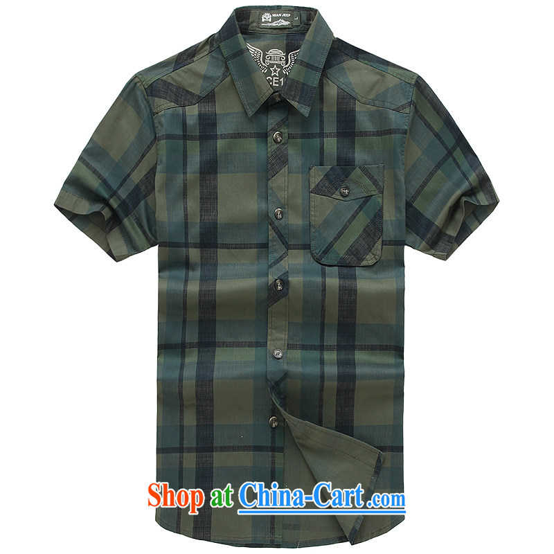 Jeep VEHICLES WITH SHORT men's short-sleeved plaid over shirt collar business youth leisure loose washable pure cotton shirt 5833 army green L